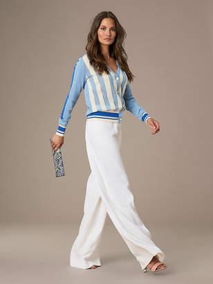 Diane von Furstenberg Long-Sleeve Color Block Cotton Cardigan