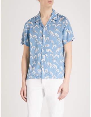 Sandro Palm-print regular-fit satin shirt