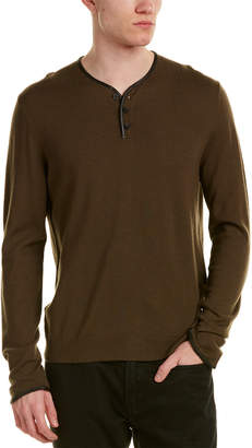 The Kooples Leather-Trim Merino Wool Henley Top