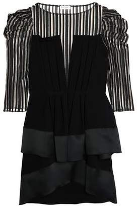 Vionnet Ruffled Satin-Trimmed Striped Tulle And Crepe Mini Dress