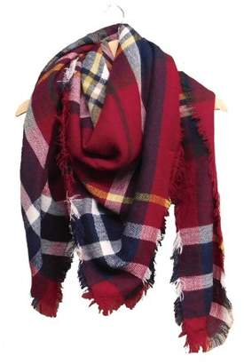 Tickled Pink Plaid Blanket Scarf, 55 x 55, 100% Acrylic, Multiple Colors
