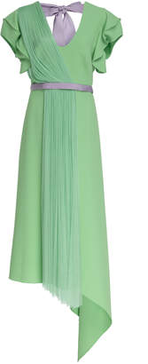 DELPOZO Bow-Detailed Tulle-Paneled Midi Dress
