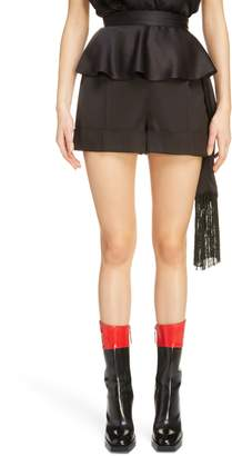 Alexander McQueen Side Scarf Peplum Satin Shorts