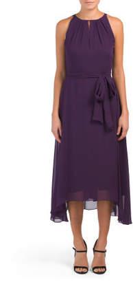 Chiffon Midi Dress With Self Belt