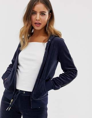 Juicy Couture black label embroidered crest velour jacket