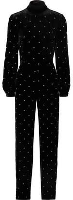 Isabella Collection Raquel Diniz Open-back Embroidered Silk-velvet Jumpsuit