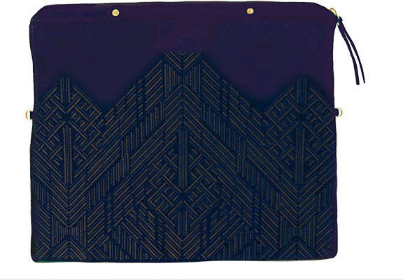 Cynthia Vincent Banker's Etched Suede Clutch