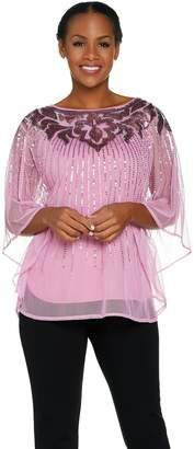 Bob Mackie Bob Mackie's Sequin Caftan Top and Knit Tank Set