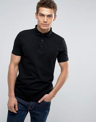 Asos Design Polo Shirt In Black Pique With Button Down Collar