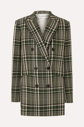 Sonia Rykiel Double-breasted Checked Wool Blazer - Green