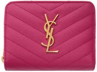 Saint Laurent Pink Compact Monogramme Wallet