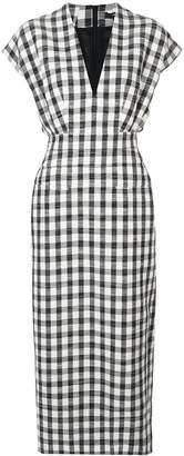 Derek Lam Sleeveless Plaid V-Neck Dress with Tapered Skirt