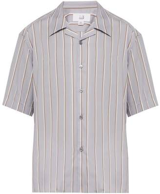 Dunhill Striped Short Sleeved Shirt - Mens - Blue