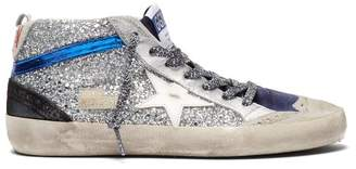Golden Goose Mid Star Distressed Glitter Trainers - Womens - Navy Silver