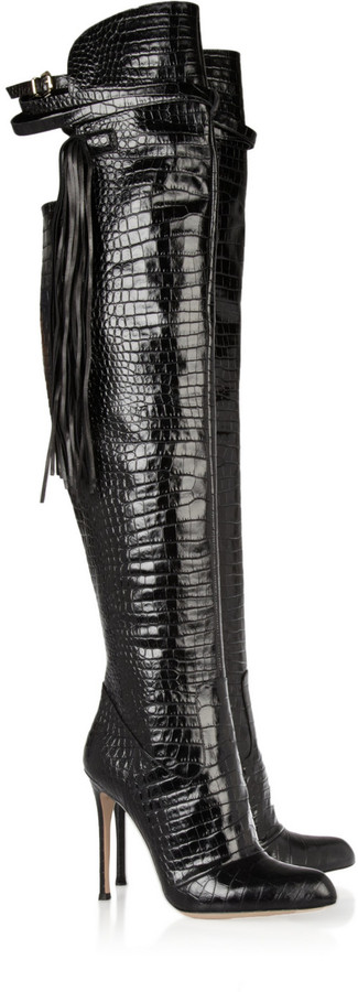 Altuzarra Tasseled croc-effect leather over-the-knee boots