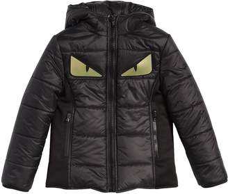 Fendi Monster Eyes Hooded Nylon Puffer Jacket