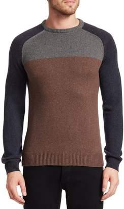 Saks Fifth Avenue Color Block Wool Crewneck Sweater