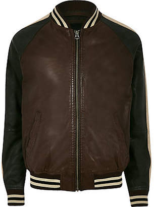 River Island Pepe Jeans brown leather tipped bomber jacket