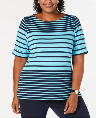 6c1754be9c7 Karen Scott Plus Size Striped Elbow-Sleeve Top