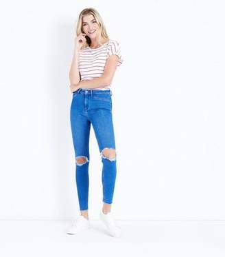 e55521798bd77 New Look Bright Blue Ripped High Waist Super Skinny Hallie Jeans