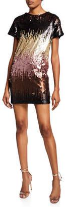 Aidan Mattox Ombre Sequined Short-Sleeve Mini Dress