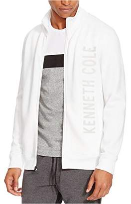 Kenneth Cole Reaction Men's Full Zip Logo Ls Knit