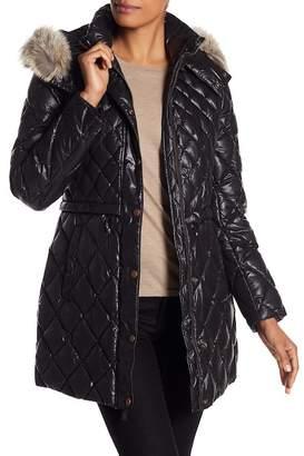 Andrew Marc Kavi Genuine Coyote Fur Trim Diamond Quilted Jacket
