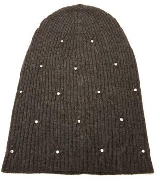 Marc Jacobs Crystal Embellished Wool Blend Beanie Hat - Womens - Brown
