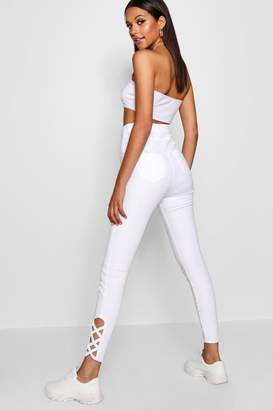 boohoo Tall Lace Up Cropped Jeans