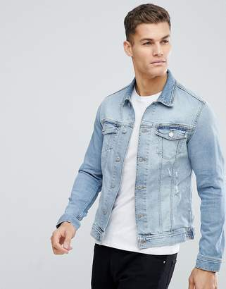 Jack and Jones Intelligence Denim Jacket With Rip Repair In Organic Cotton