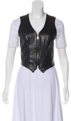 Henri Bendel Leather Zip-Up Vest