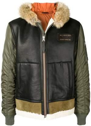 Schott padded leather panel jacket