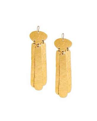 Devon Leigh Hammered Three-Drop Earrings, Gold