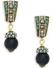 Heidi Daus Crystal J-Hoop Bead Drop Earrings