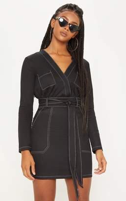PrettyLittleThing Black Contrast Stitching Utility Bodycon Dress