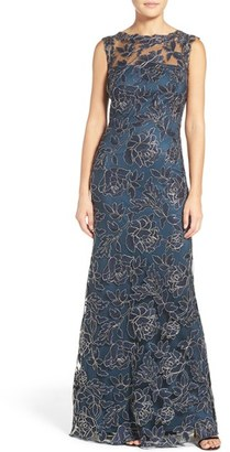 Women's Tadashi Shoji Embroidered Mesh Gown $548 thestylecure.com