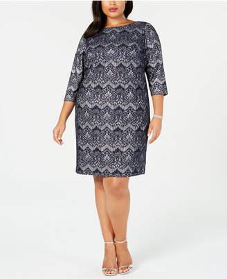 Jessica Howard Plus Size Lace Glitter Sheath Dress