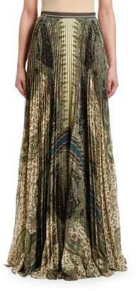 Etro Paisley-Print Pleated Maxi Skirt