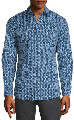 AXIST Axist Long Sleeve Geometric Button-Front Shirt