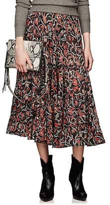Etoile Isabel Marant Women's Elfa Floral Cotton Midi-Skirt - Black