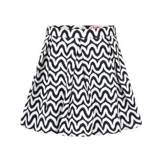 Il Gufo Il GufoGirls Navy & White Wavy Cotton Skirt