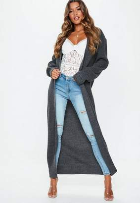 Missguided Gray Knit Maxi Longline Cardigan