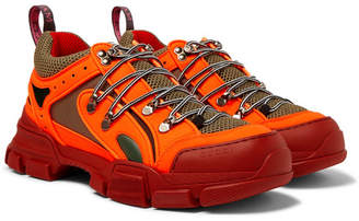 Gucci Flashtrek Reflective Rubber, Leather and Mesh Sneakers - Men - Orange