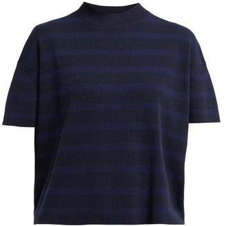 Barrie Drop Shoulder Rib Knitted Cashmere T Shirt - Womens - Navy Multi