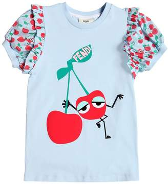 Fendi Cherry Cotton Jersey & Muslin T-Shirt