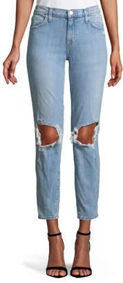 Current/Elliott The Fling Ripped-Knee Denim Jeans, Light Blue