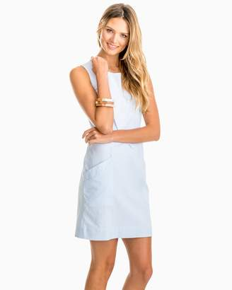 Southern Tide Paislee Blue Seersucker Shift Dress