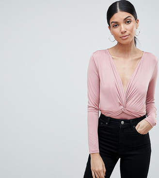 Asos Tall Design Tall Body With Long Sleeves And Knot Front Plunge