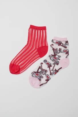 H&M 2-pack Lightweight Socks - Pink