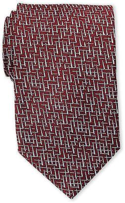 Lanvin Red & Silver Link Silk Jacquard Tie